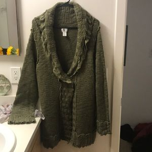 Chico's Olive Green Cardigan- Size 3